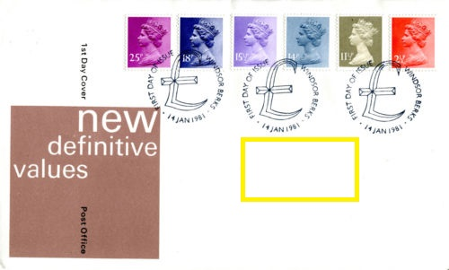 1981 GB - FDC - 6 x Changed Definitives 2½p to 25p (Addressed)